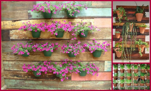 jardim vertical de bambu : jardim vertical de bambu: de feira, latas de leite em pó , cabaça, garrafas e vasos de vidro e