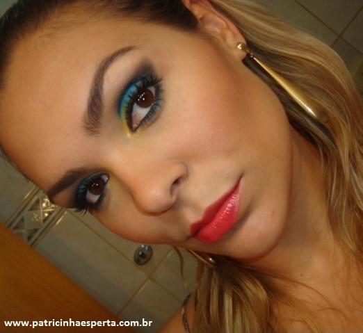 008post - Tutorial - Maquiagem Azul e Dourado para Baladas e Festas
