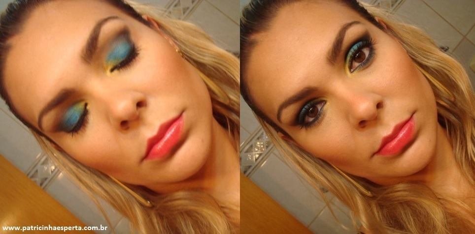 015post - Tutorial - Maquiagem Azul e Dourado para Baladas e Festas