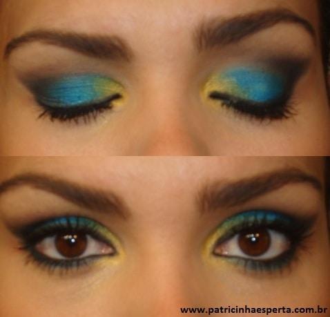 051post - Tutorial - Maquiagem Azul e Dourado para Baladas e Festas