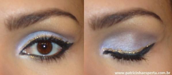 Tutorial – Maquiagem lilás com delineado preto e dourado (glitter)