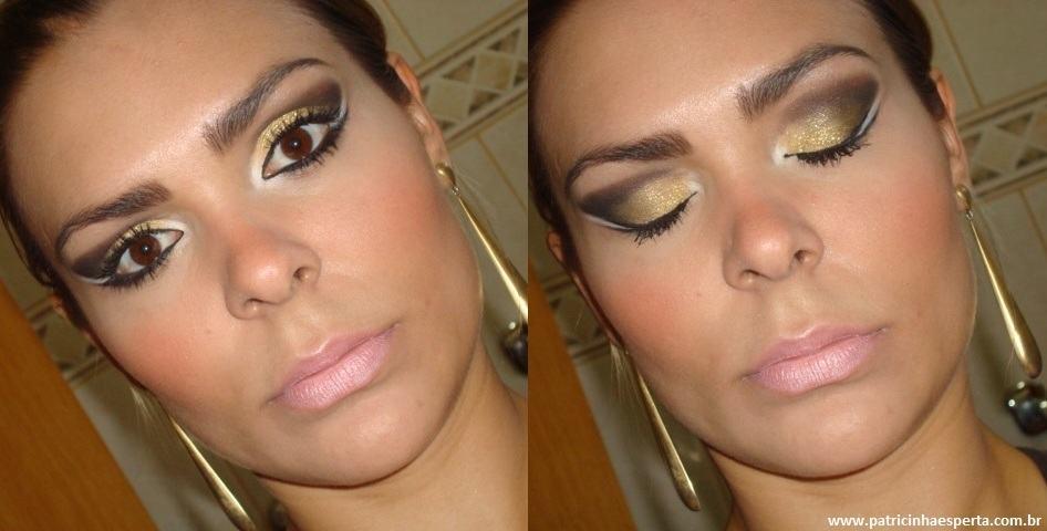 036post Tutorial   Maquiagem Dourada e Preta com Branco para Festas