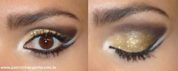 071.post  Tutorial   Maquiagem Dourada e Preta com Branco para Festas