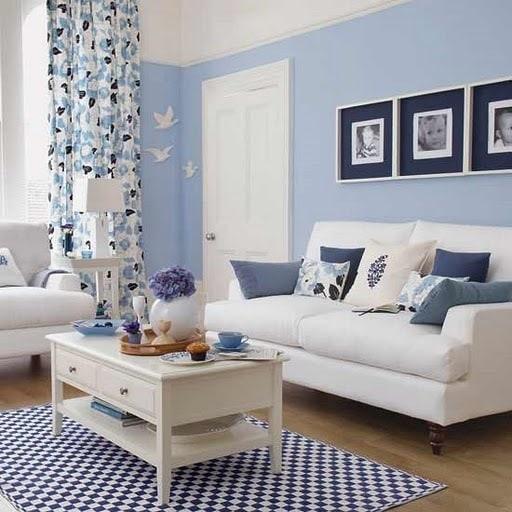 blue living room2 - Tapete na decoração