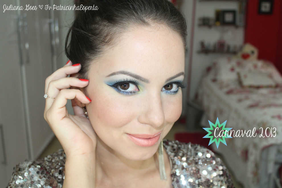 juliana goes carnaval Tutorial: Maquiagem Colorida para arrasar no Carnaval