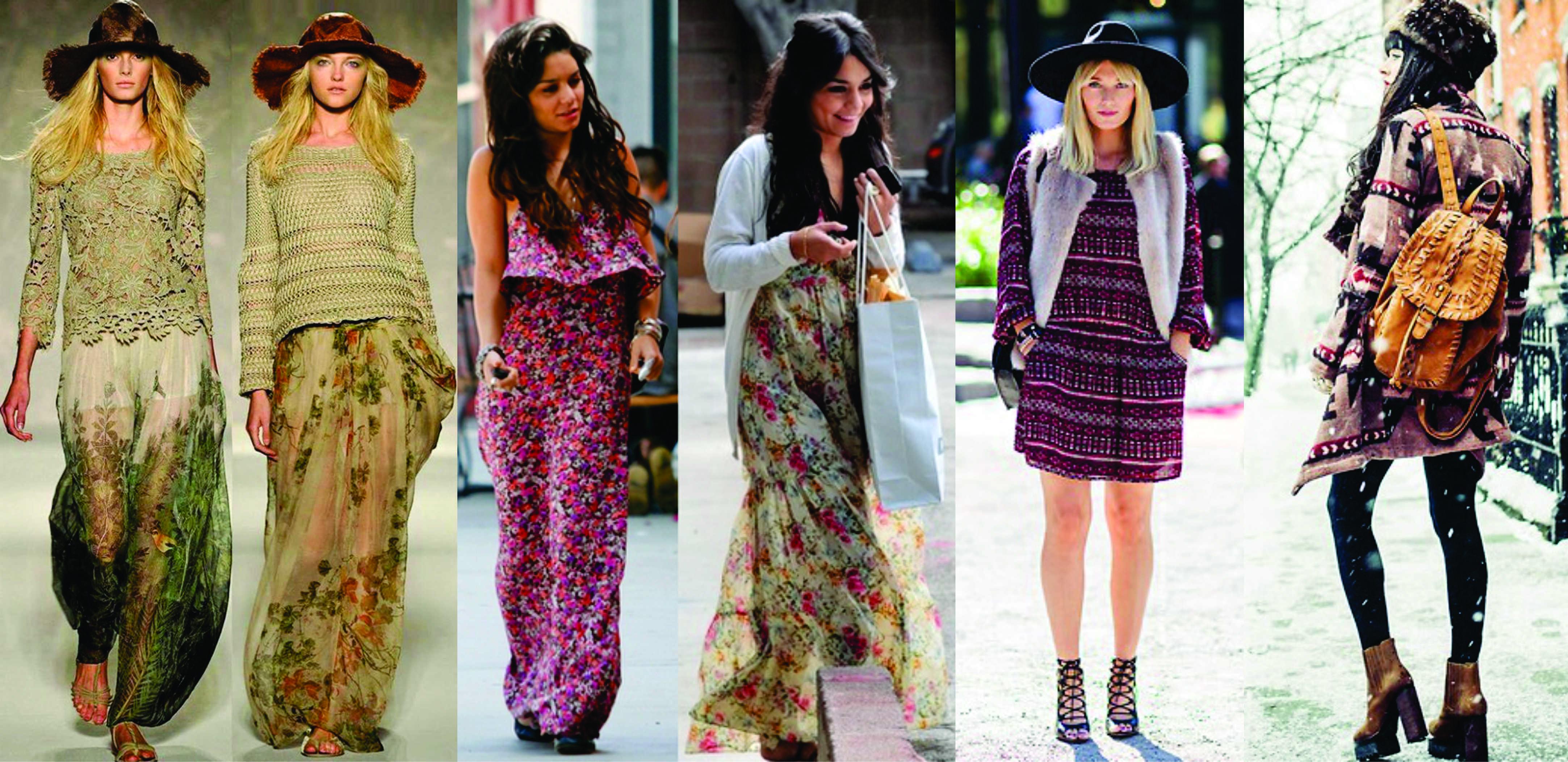 Hippie saias e vestidos