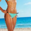 Fun applying sunscreen on beach body