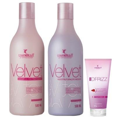 Cosmetica-IT-Velvet-Kit-Shampoo-Preparador--500ml--Reconstrutor--500ml--e-DFrizz--180g-