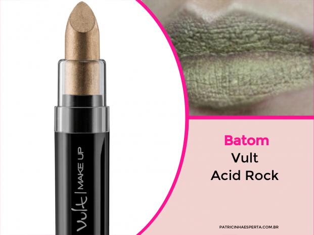 Batom Vult Acid Rock metálico dourado