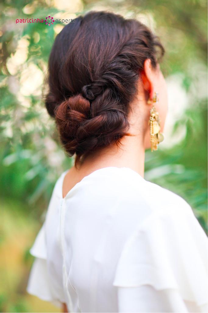 penteado preso baixo para madrinha de casamento a tarde