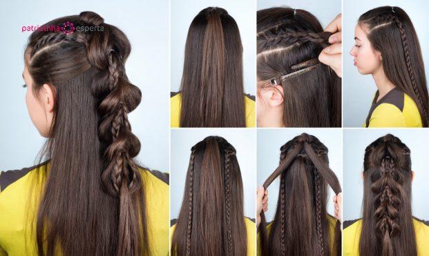 penteado trança sofistica em cabelo longo para madrinha de casamento passo a passo