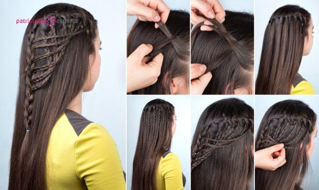 penteado em cabelo longo lisos com trança para madrinha de casamento jovem