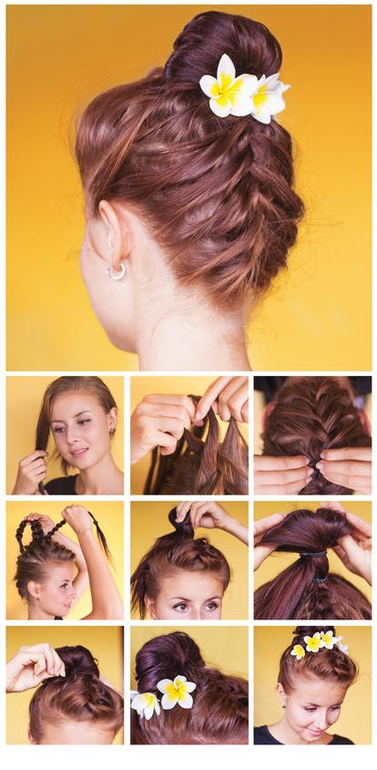 penteado com flor para madrinha de casamento jovem