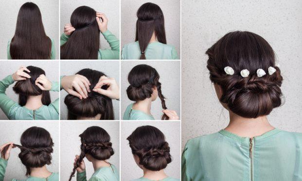 ideia de penteado coque baixo com flores para madrinha de casamento
