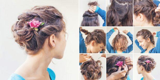 penteado para madrinha de casamento cabelos curto e cacheado