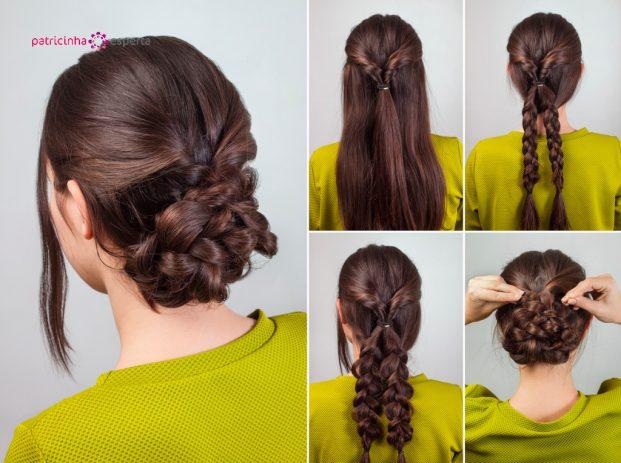 penteado em cabelo longo lisos para madrinhas de casamento a noite passo a passo
