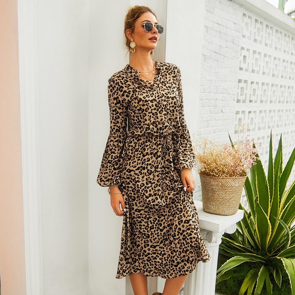 2019 outono novas mulheres leopardo impress o vestido elegante manga longa v pesco o cintura alta - Vestidos Estampados 2021: 90 Looks Inspirações, Trends