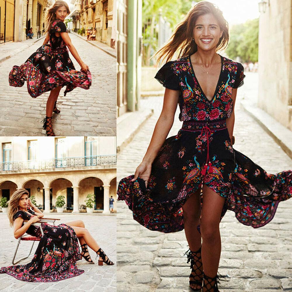 Mulheres ver o boho curto maxi vestido de festa noite vestidos de praia sundress - Vestidos Estampados 2021: 90 Looks Inspirações, Trends