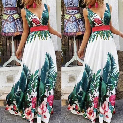 Senhora f rias de ver o floral praia boho maxi v pesco o vestido de impress - Vestidos Estampados 2021: 90 Looks Inspirações, Trends