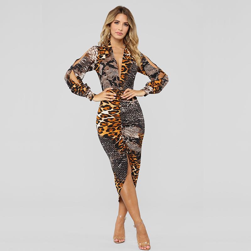 Sexy Mulheres Ver o Vestido de Manga Longa e Profunda V Neck Leopard Cobra Imprimir Mini - Vestidos Estampados 2021: 90 Looks Inspirações, Trends
